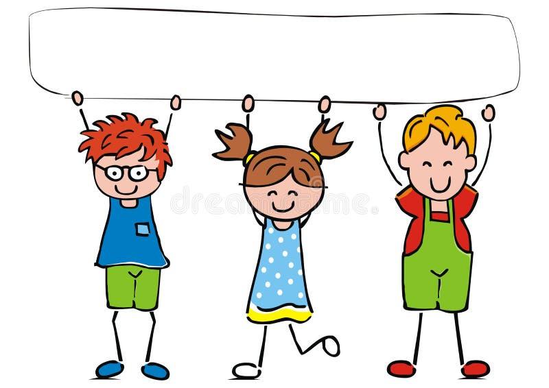 Tre bambini con l'insegna, ENV royalty illustrazione gratis