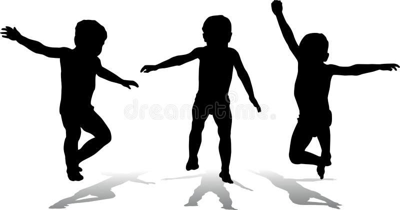 Tre bambini di salto, vettore royalty illustrazione gratis