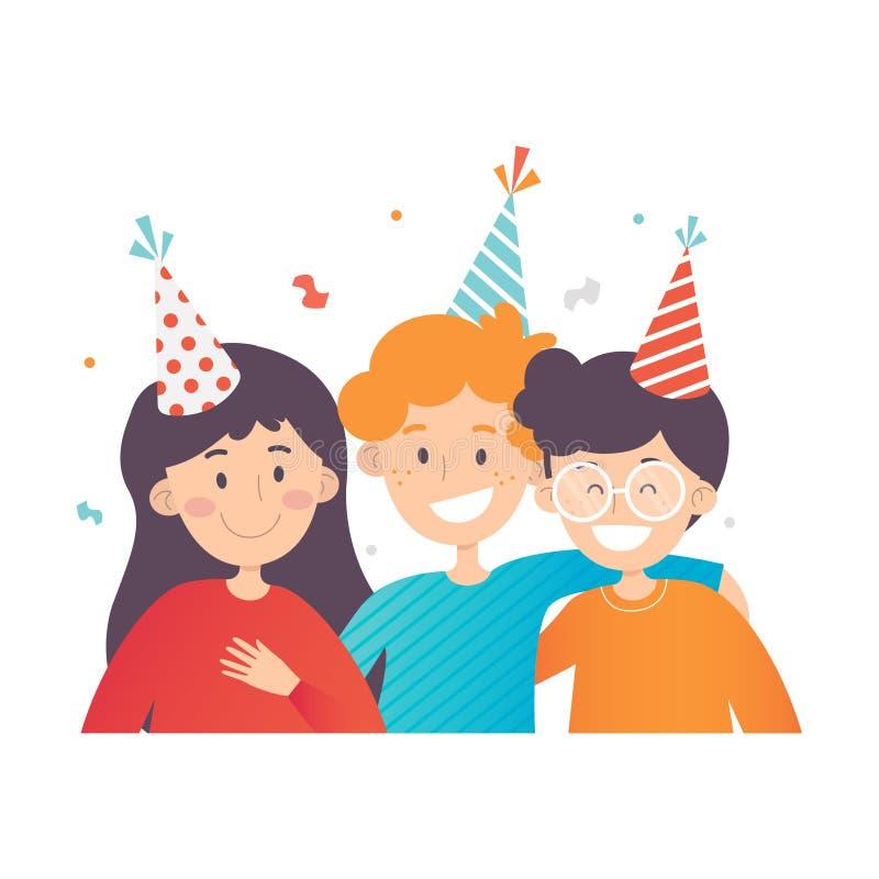 Tre bambini felici che celebrano compleanno, coriandoli nell'aria Una ragazza e due ragazzi in cappelli del partito Progettazione illustrazione di stock