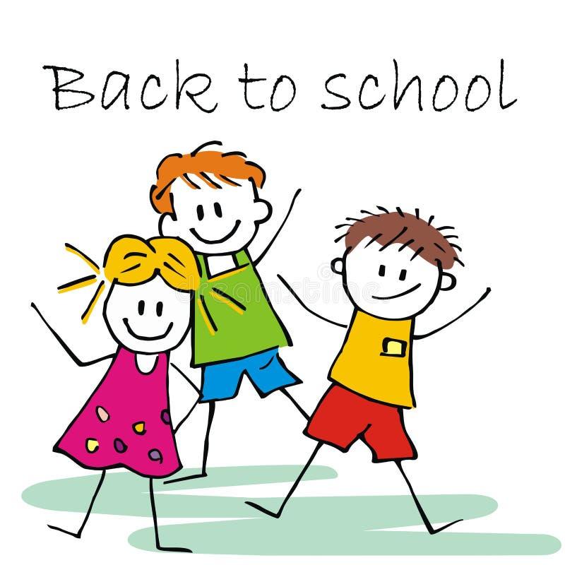 Tre bambini felici, di nuovo alla scuola, vector l'illustrazione royalty illustrazione gratis
