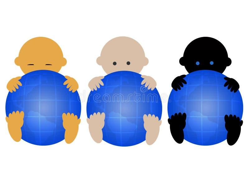 Tre bambini multiracial illustrazione di stock
