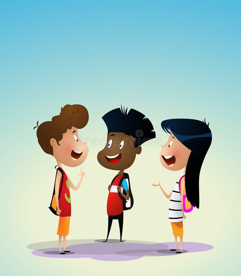 Tre bambini multirazziali discutono qualcosa illustrazione di stock