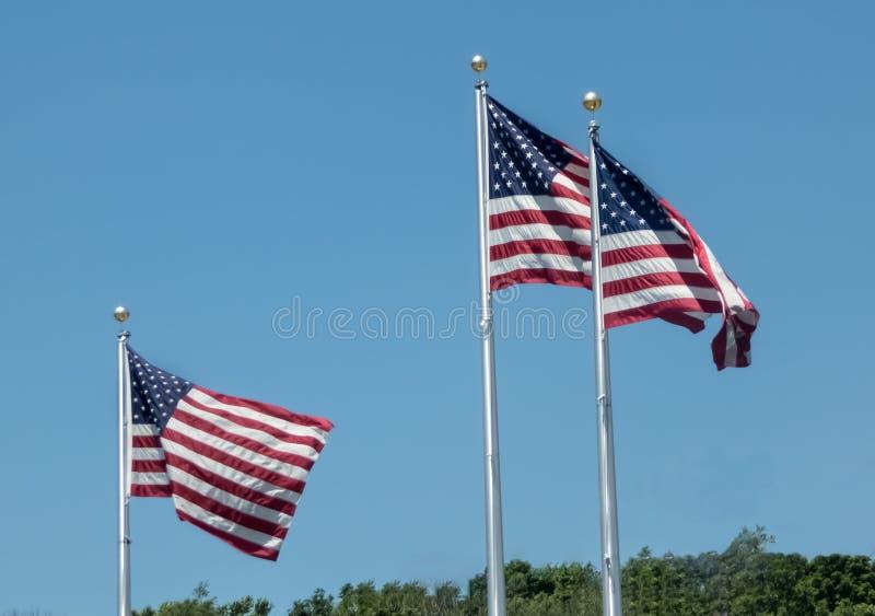 Tre bandiere americane spazzate vento fotografia stock