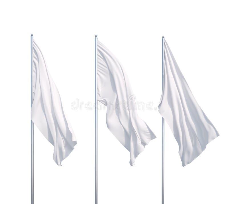 Tre bandiere bianche illustrazione di stock