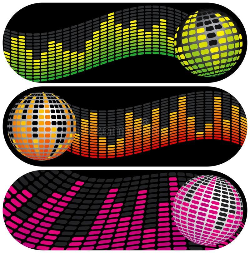 Tre bandiere di musica della discoteca illustrazione di stock