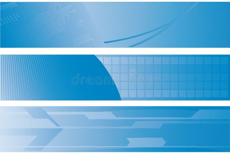 Tre bandiere di tecnologia illustrazione di stock
