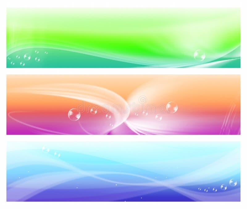 Tre bandiere variopinte dell'estratto di Web illustrazione vettoriale
