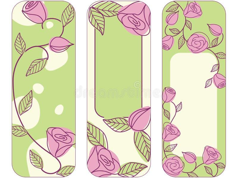 Tre bandiere verticali disegnate a mano di primavera   illustrazione di stock