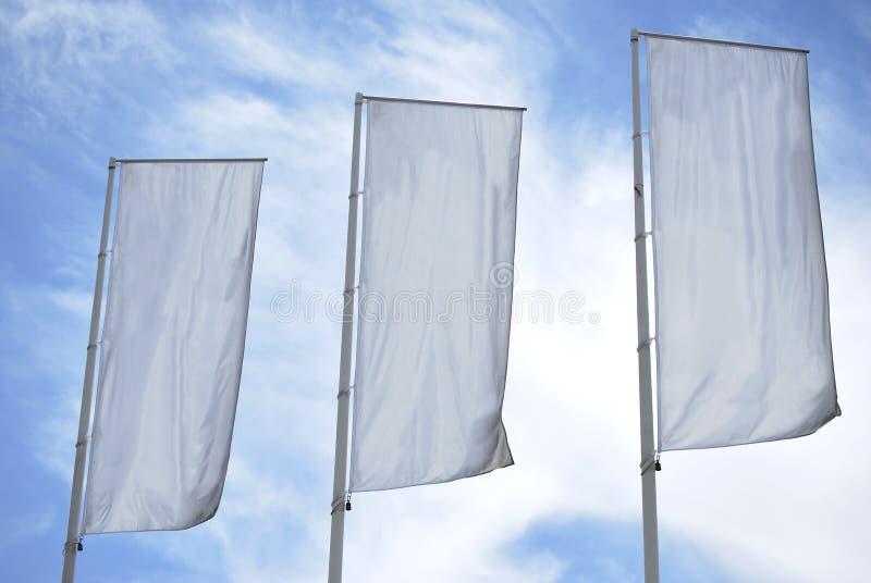 Tre bandiere vuote immagini stock