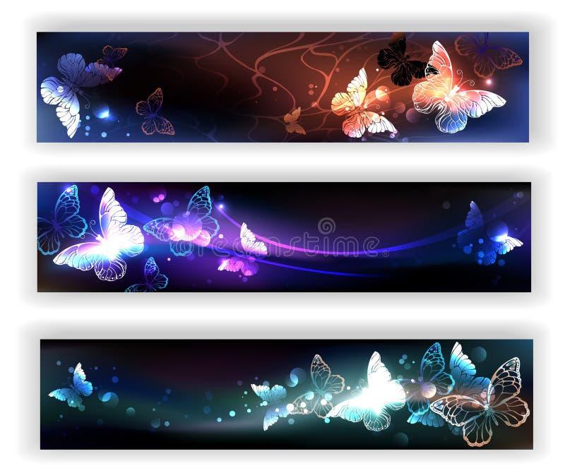 Tre baner med nattfjärilar stock illustrationer