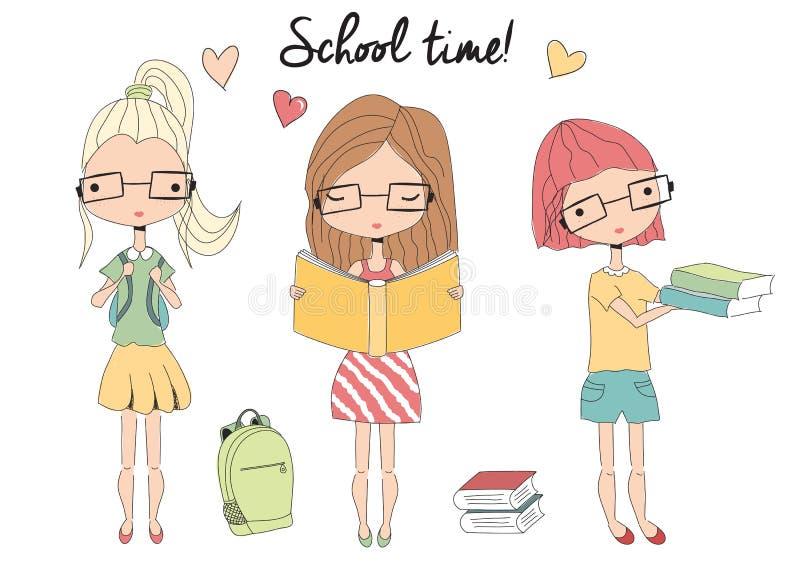 Tre barn skolar flickor med exponeringsglas, skolapåsen, böcker royaltyfri illustrationer