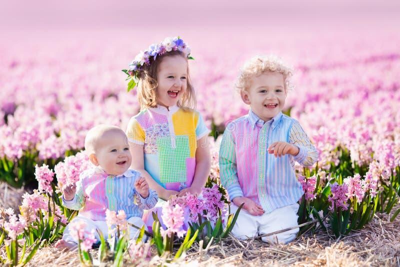 Tre barn som spelar i härligt hyacintblommafält royaltyfri bild