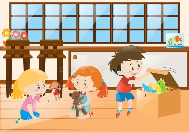 Tre barn som spelar med dockor i rum vektor illustrationer