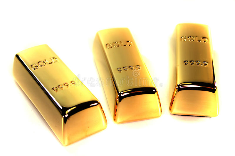 Tre barre di oro fotografia stock libera da diritti