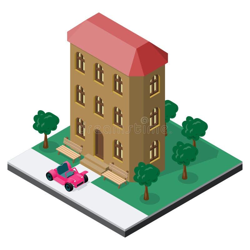 Tre-berättelse byggnad med bänkar, träd och bilen i isometrisk sikt stock illustrationer