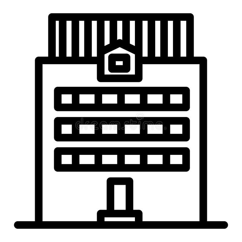 Tre-berättelse byggnadslinje symbol Kontorsbyggnadvektorillustration som isoleras på vit Yttre översiktsstil för hus royaltyfri illustrationer