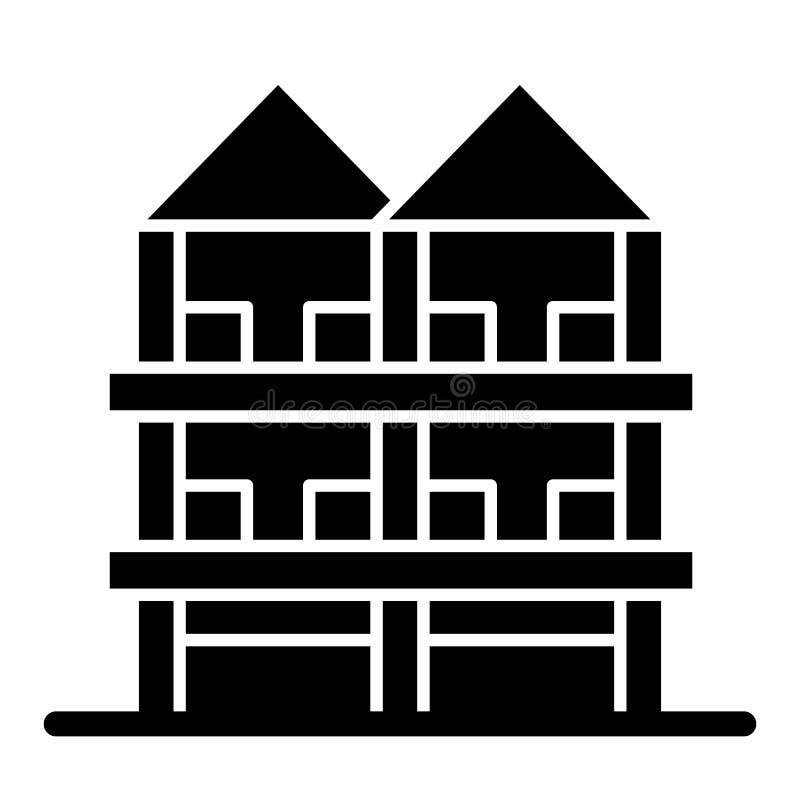 Tre-berättelse hus med den fasta symbolen för dubbelt tak Arkitekturvektorillustration som isoleras på vit Hus med garaget vektor illustrationer