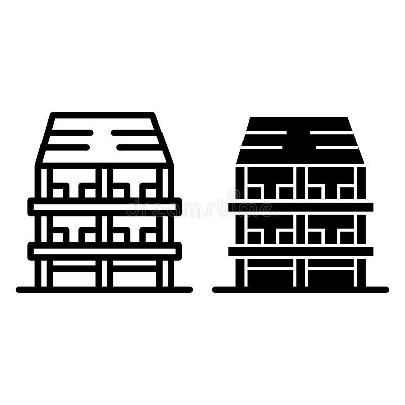 Tre-berättelse huslinje och skårasymbol Yttre vektorillustration som isoleras på vit Design för arkitekturöversiktsstil stock illustrationer