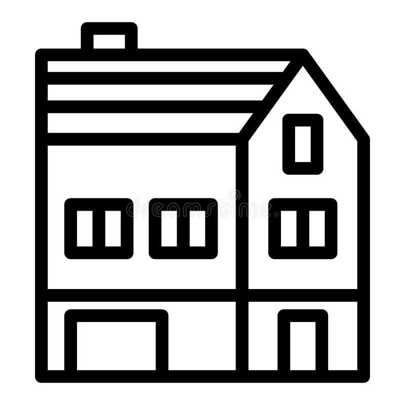 Tre-berättelse huslinje symbol Stugavektorillustration som isoleras på vit För översiktsstil för hus yttre design stock illustrationer