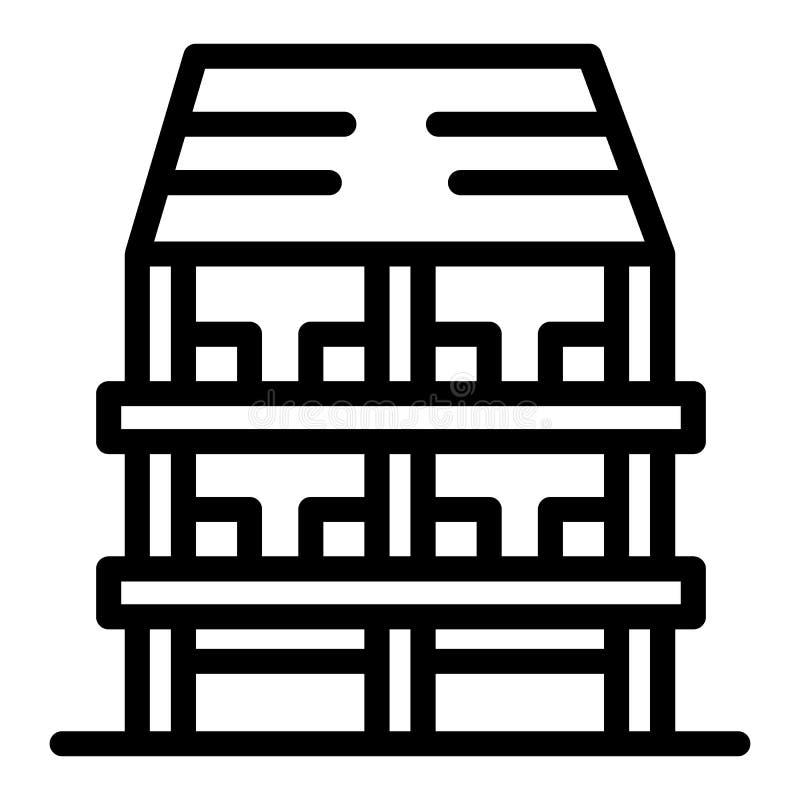 Tre-berättelse huslinje symbol Yttre vektorillustration som isoleras på vit Design för arkitekturöversiktsstil som planläggs stock illustrationer