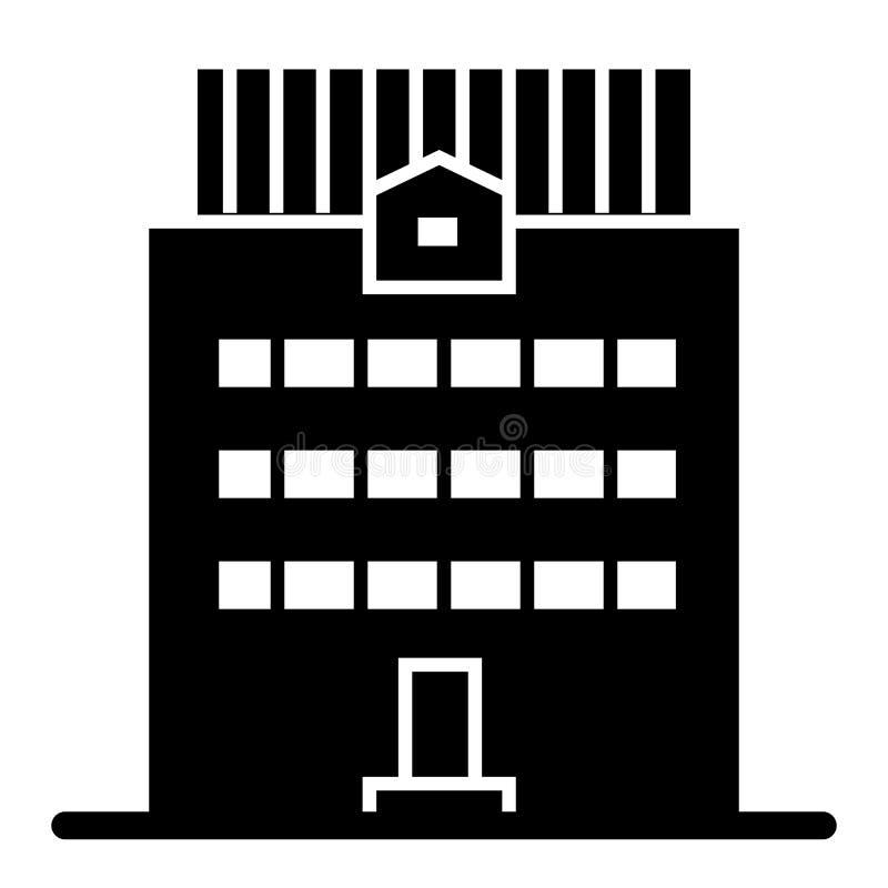 Tre-berättelse som bygger den fasta symbolen Kontorsbyggnadvektorillustration som isoleras på vit Yttre skårastil för hus vektor illustrationer