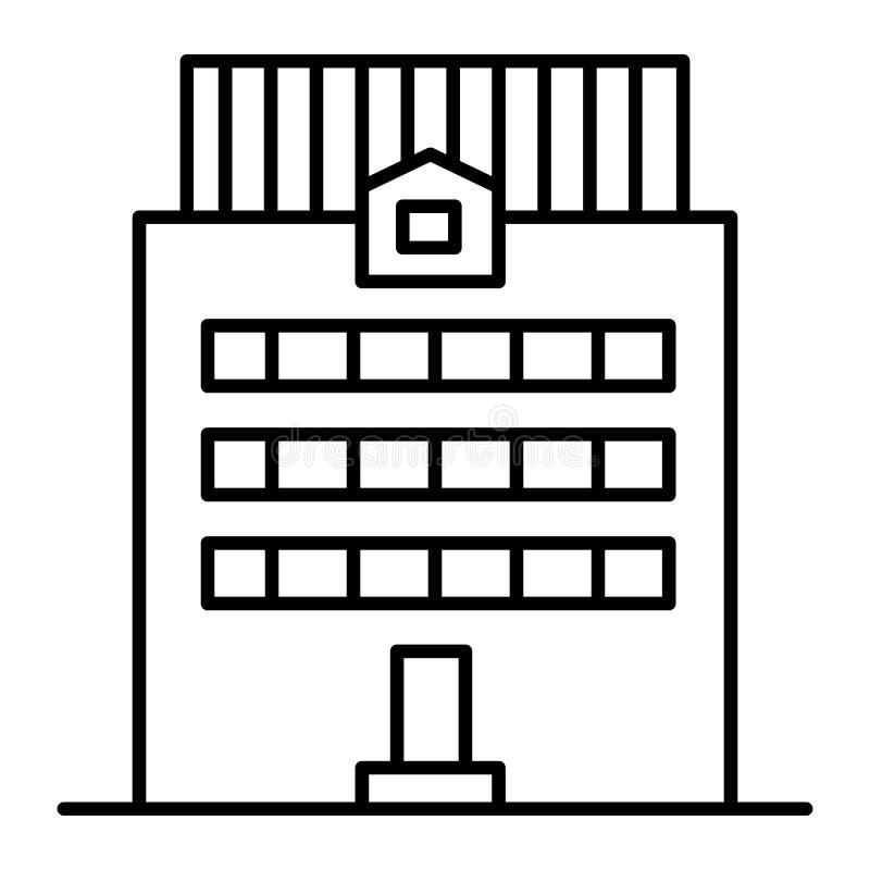 Tre-berättelse som bygger den tunna linjen symbol Kontorsbyggnadvektorillustration som isoleras på vit Yttre översiktsstil för hu stock illustrationer
