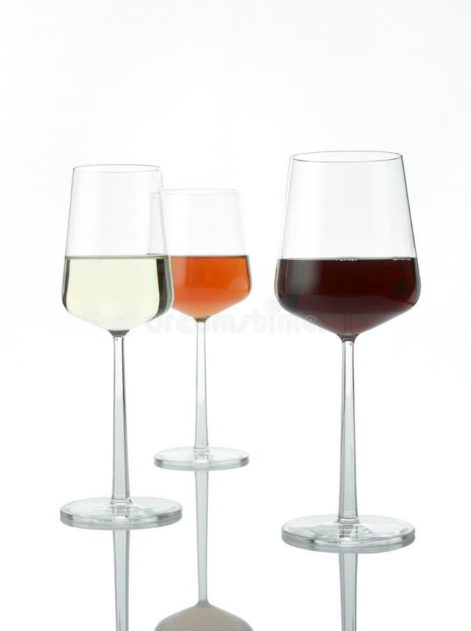 Tre colori di vino fotografia stock