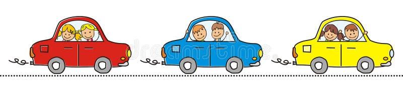 Tre bilar och barn stock illustrationer