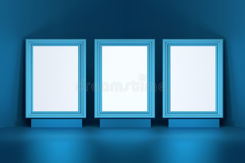 Tre bildramar i blå färg stock illustrationer