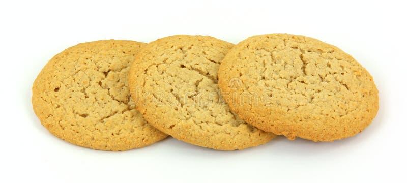 Tre biscotti del burro di arachide fotografie stock libere da diritti