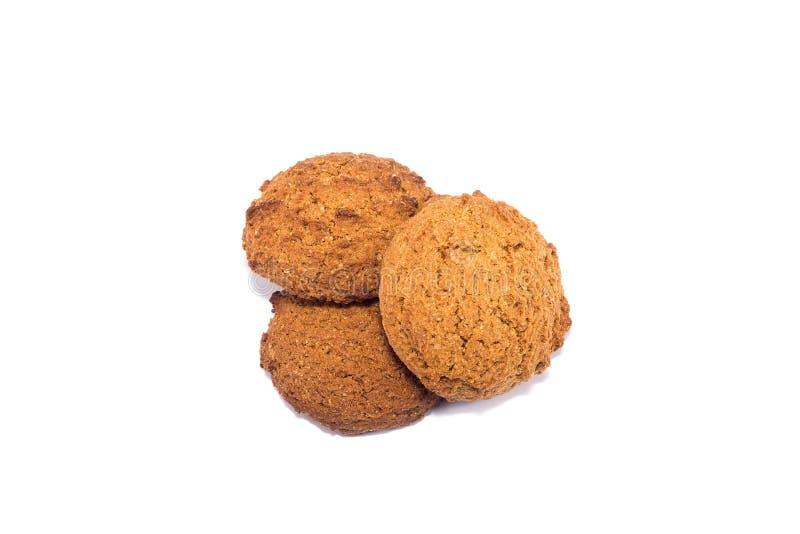 Tre biscotti di farina d'avena Dieta sana isolata su fondo bianco fotografia stock