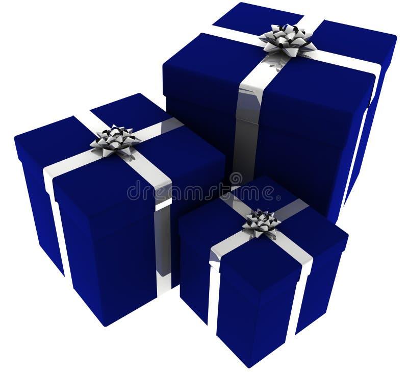 Tre blu e presente d'argento illustrazione di stock