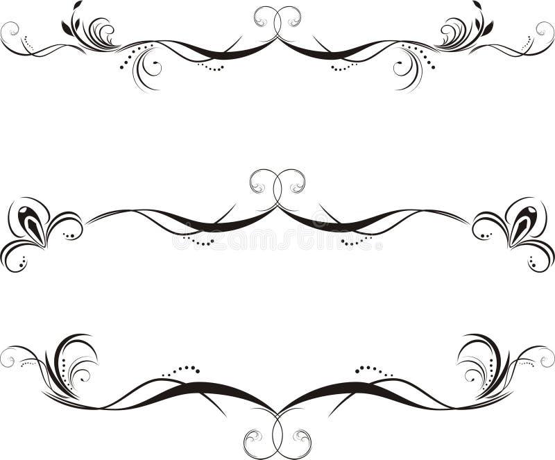 Tre bordi floreali decorativi royalty illustrazione gratis