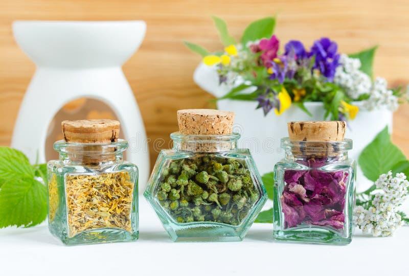 Tre bottiglie d'annata con le erbe curative secche - la camomilla selvatica pineappleweed, petali di rosa canina e fiori del tage fotografia stock