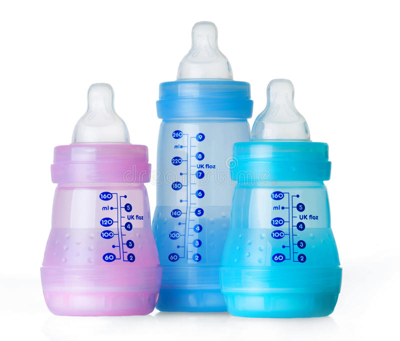 Tre bottiglie di bambino fotografia stock