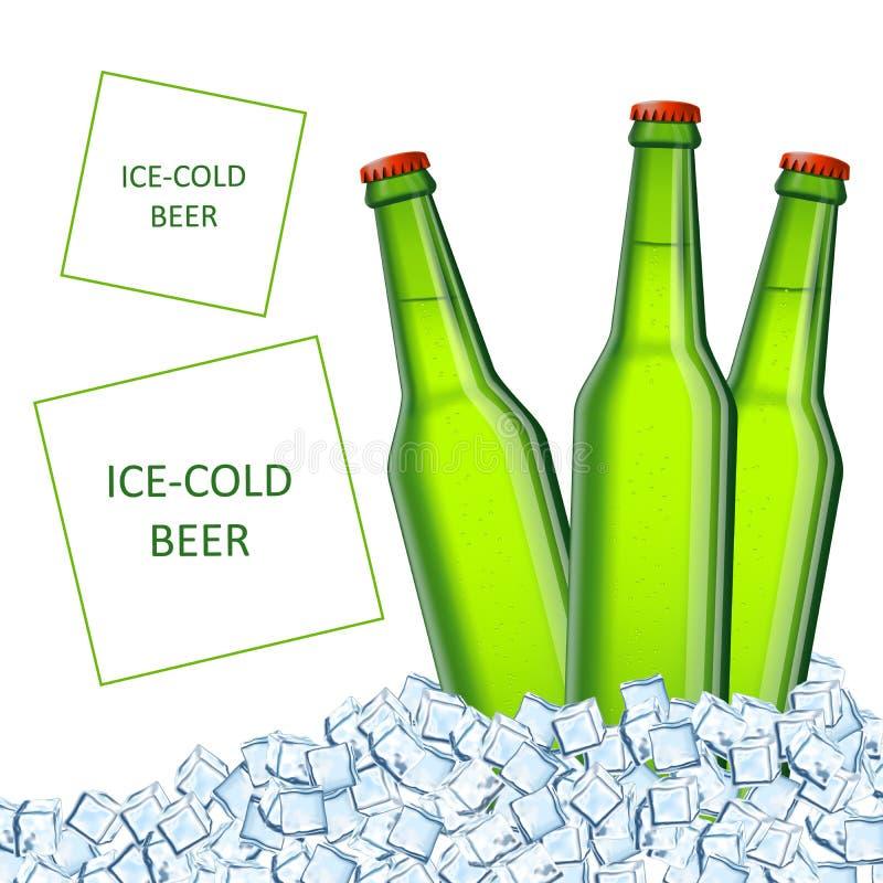 Tre bottiglie di birra fresche fredde in ghiaccio cubico trasparente illustrazione di stock