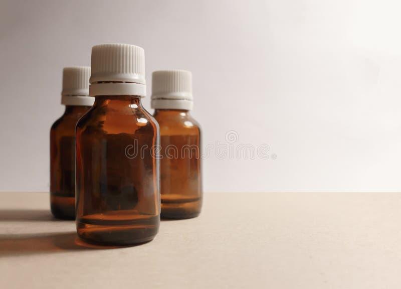 Tre bottiglie di medicina immagine stock