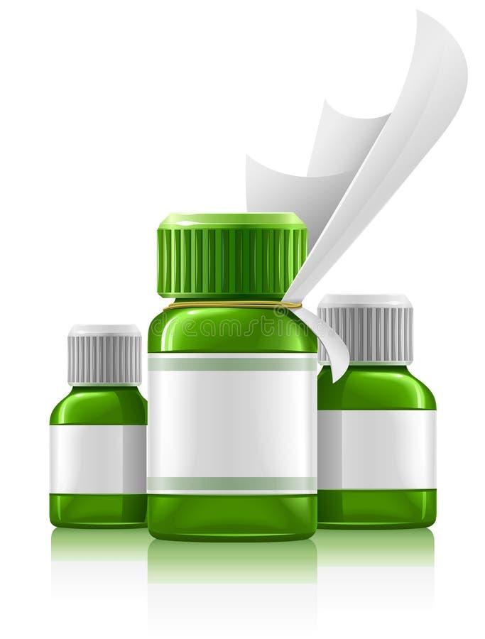 Tre bottiglie mediche verdi con il farmaco royalty illustrazione gratis