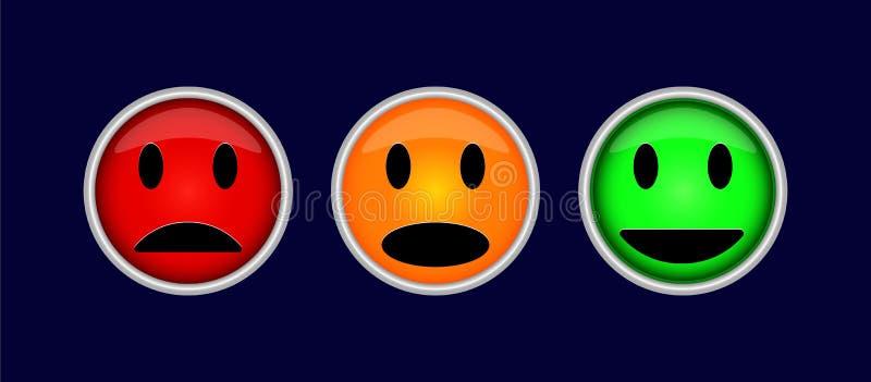 Tre bottoni variopinti con i simboli delle emozioni, divertimento, tristezza, i illustrazione vettoriale
