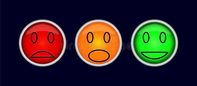 Tre bottoni variopinti con i simboli delle emozioni, tristezza, divertimento, i illustrazione di stock