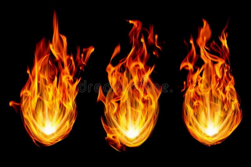 tre brandbollar som isoleras på svart royaltyfri illustrationer