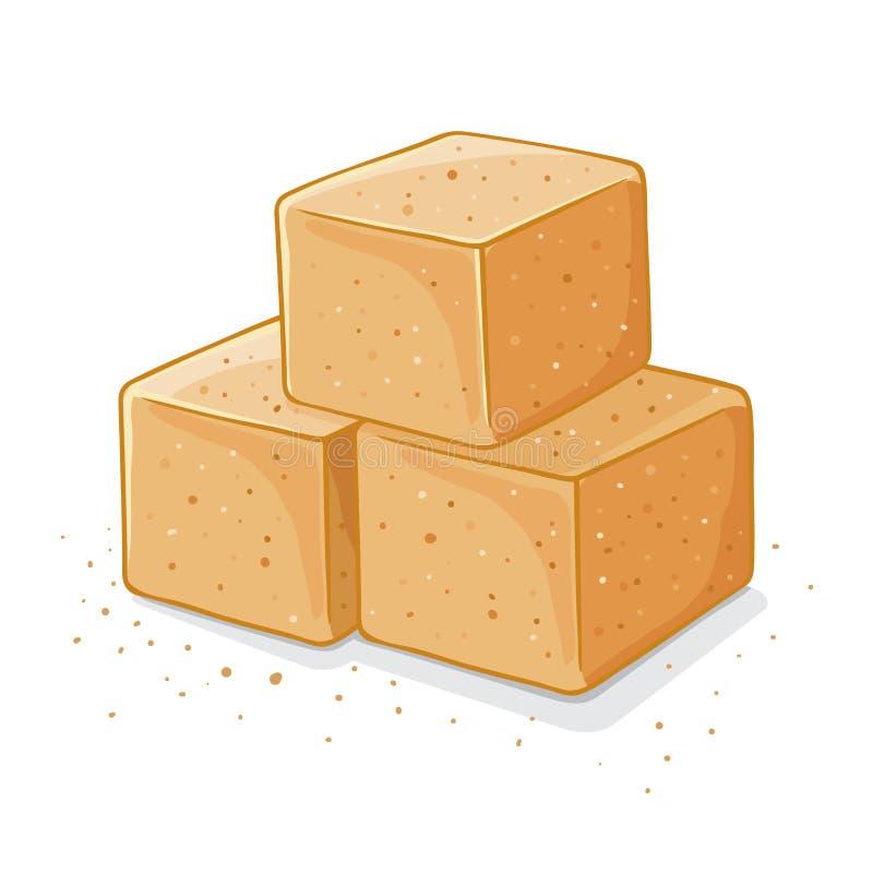 Tre Brown Sugar Cubes Illustration illustrazione vettoriale