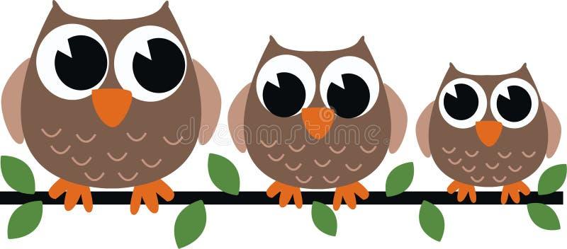 Tre bruna owls royaltyfri illustrationer