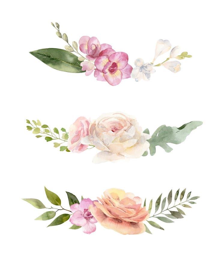 Tre buketter av vattenfärgblommor och sidor royaltyfri illustrationer