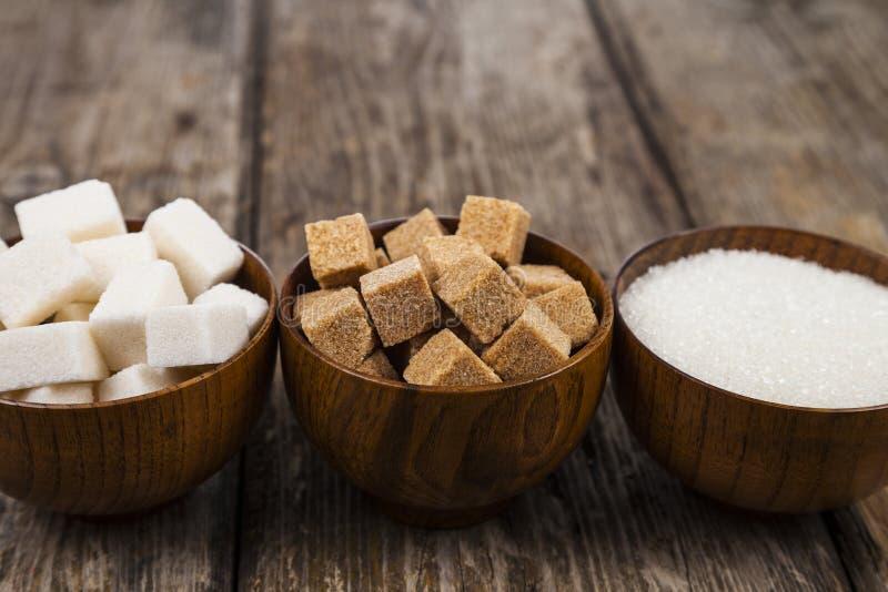Tre bunkar av socker royaltyfri bild