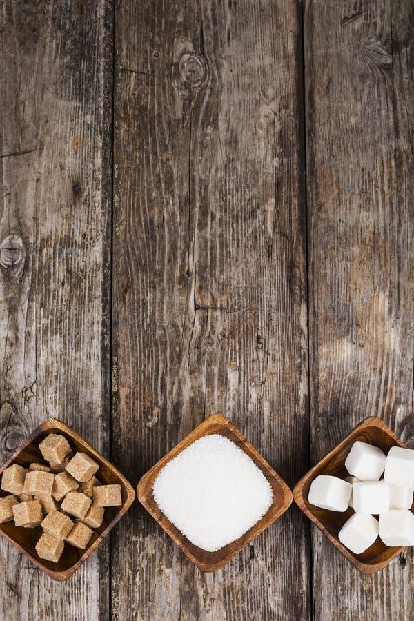 Tre bunkar med socker royaltyfri foto
