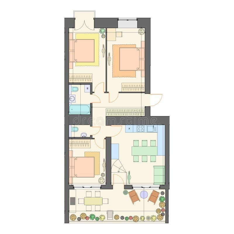 Tre camere da letto con un grande piano di terraferma / layout, sfondo architettonico illustrazione vettoriale