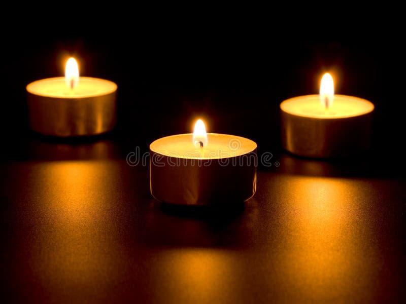 Tre candele burning fotografia stock