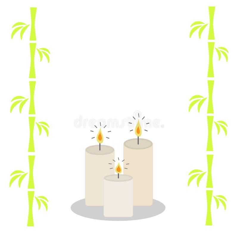 Tre candele e bambù brucianti Progettazione piana isolata fondo bianco royalty illustrazione gratis