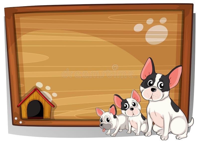 Tre cani davanti ad un bordo di legno illustrazione di stock